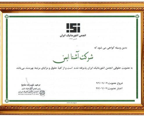 عضویت انجمن انفورماتیک ایران